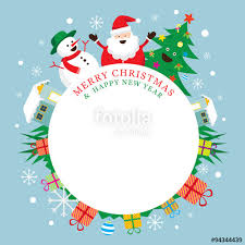 santa claus snowman tree frame characters merry and