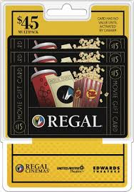 gift card packs regal entertainment 15 gift cards 3 pack multi regal mp