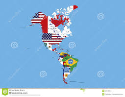 Latin And South America Map by North Middle And South America Flags Map Names Stock Images