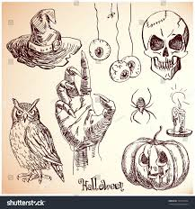 hand drawn halloween set vector candlezombie stock vector