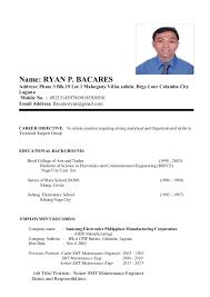 resume format 2013 sle philippines articles philippine address format hvac cover letter sle hvac cover