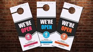 door hanger flyer template shop open door hanger template stationery templates creative