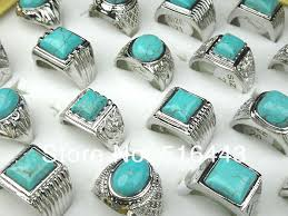 mens rings sale images 2018 hot sale wholesale jewelry turquoise stones silver plated jpg