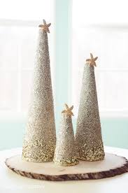 craft diy coastal glitter christmas trees