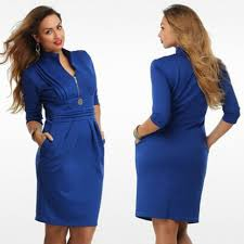 2016 new fashion loose plus size dress stand collar full length