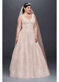 pink plus size wedding dresses appliqued tulle lace plus size wedding dress david s bridal