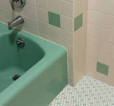 vintage green bathroom white and green hex tile black and green