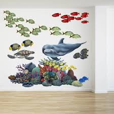 coral reef tropical fish mural wall sticker set fills a whole wall coral reef tropical fish mural wall decal sticker combo