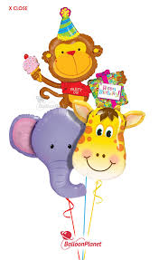 balloons delivered cheap jungle pals trio elephant monkey giraffe balloon bouquet 3