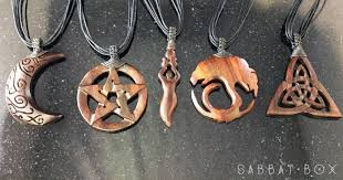 wooden necklaces moon goddess carved wooden necklace sabbat box