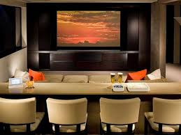 home theater room decor fabulous home theatre ideas with cozy sofa and round unique tables
