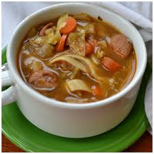 savory chicken sausage cabbage noodle soup small town woman