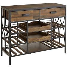 console table with wine storage brown bar console