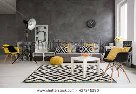 Grey Yellow Chair Grey Living Room Sofa Chairs Standing Stock Photo 398322925
