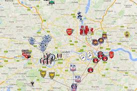 Map Of London England by London Football Stadiums Map Map Of Footbal Stadiums London