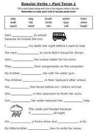 esl grammar unit using regular and irregular verbs printable