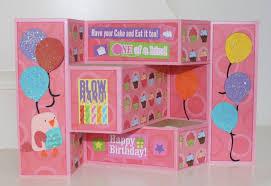 lala u0027s world happy birthday tri fold shutter card