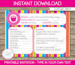 How To Make Birthday Invitation Cards At Home Cupcake Invitation Template Recipe Card Invitation