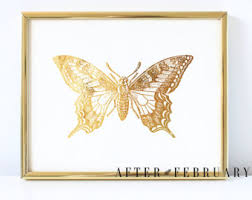 Butterfly Office Decor Gold Butterfly Print Etsy