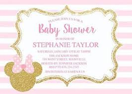 pink and gold baby shower invitations minnie mouse pink gold baby shower invitation ebay