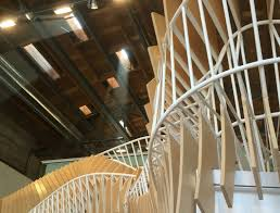 ultra twisty wooden and steel staircase u0027breathes u0027 as you walk by