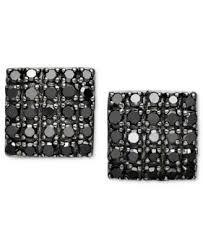 black diamond studs black diamond square cluster stud earrings in sterling silver 1 2