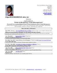Sample Resumes For Sales Executives Sample Resume For Hotel Sales Manager