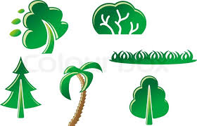 set of tree symbols as a signs or emblems stock vector colourbox