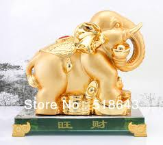 free shipping gold plated prosperous wealth lucky indian elephants