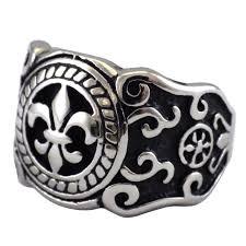 stainless steel mens rings mens fleur de lis new orleans ring stainless steel band