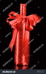 wine bottle bow wine bottle wrapped ribbon bow stock photo 29353327