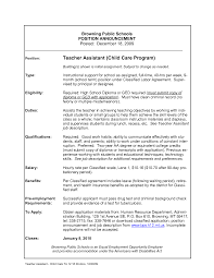 Sample Resume Objectives Teacher Assistant by Sample Resume For Daycare Teacher Free Resume Example And