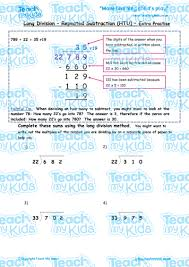 long division repeated subtraction htu extra practise teach