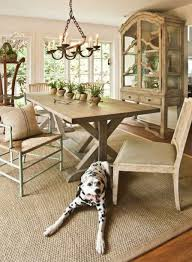 dining room using farmhouse table and sisal rug durable and