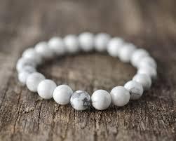 white bead bracelet images White howlite bracelet bead bracelet handmade unisex women jpg