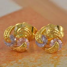 gold stud earings gold stud earrings with colored crystals gold jewelry gold
