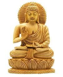 spiritual statues buddha groove carved wood sitting buddha statue