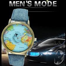 World Map Watch Amazon Com 2016 World Map Watch Watches Women Men Denim Fabric