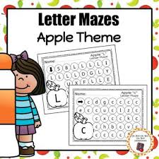 apple letter maze worksheets by oh boy oh boy oh boy homeschool tpt
