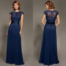 Navy Blue Lace Dress Plus Size Dark Blue Scoop Neckline Lace Chiffon Cap Sleeves Mother Of The