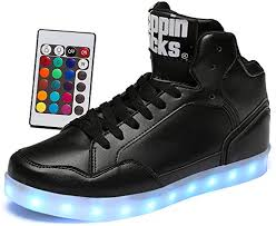 high top light up shoes led light up shoes with remote control men women leather high top