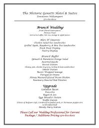 brunch wedding menu wedding brunch menu the genetti hotel