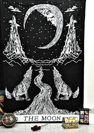 wolf moon tarot printed rectangle tapestry pinkclassy