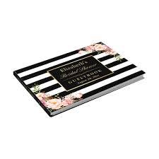 black guest book black white stripes floral wedding bridal shower guest book