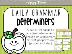 24 determiners task cards grammar activity sats spag by