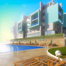 swimming pool and modern hotel a 3d illustration of idyllic
