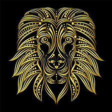 lion painted in ethnic style indian african style sketch of