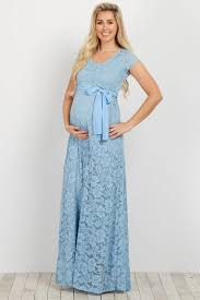 maternity dresses light blue lace sash tie maternity gown