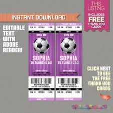 soccer party ticket invitation with free thank you card
