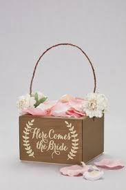 flower girl accessories here comes the wooden flower girl basket david s bridal